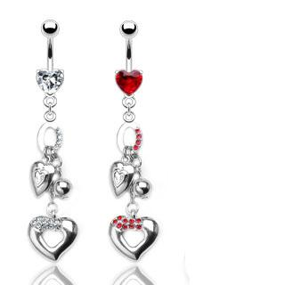 double gem sexy bling heart belly navel ring prong cz button piercing jewel b752 ebay. Black Bedroom Furniture Sets. Home Design Ideas
