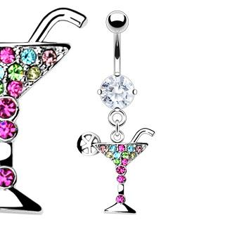 CZ MULTI COLOR GEM BELLY RING A193 BUTTON PIERCING JEWELRY