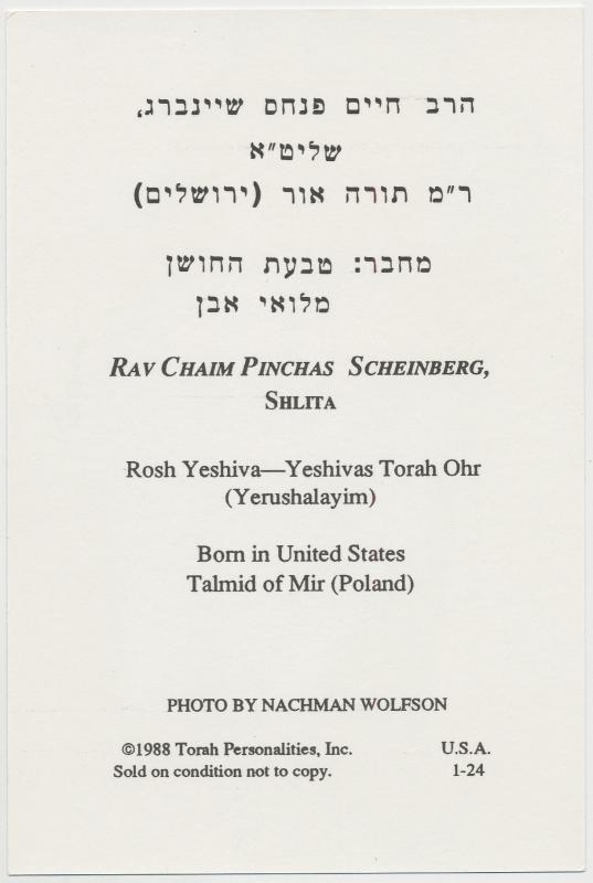 Rav Chaim Pinchas Scheinberg, Shlita, Torah Personalities