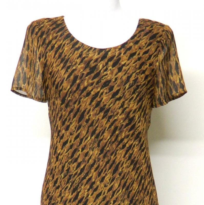 Carole Little Size 4 Brown Black Ribbed Chiffon Dress Lined Maxi Long