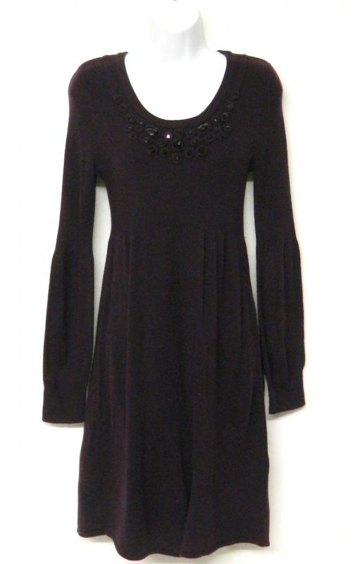 Jessica Howard Size M Purple Sweater Dress Black Faceted Jewels