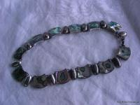 Mexico Sterling Silver & Abalone Necklace Bracelet Set Signed