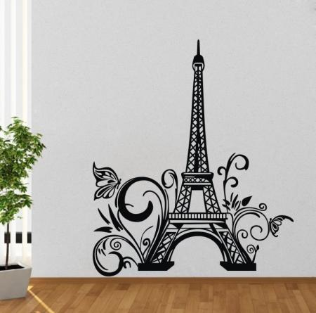 Paris eiffel tower wall sticker removable wall decal art for Eiffel tower wall mural black and white