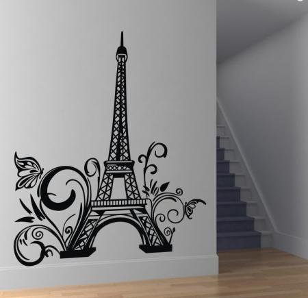 Paris eiffel tower wall sticker removable wall decal art for Eiffel tower wall mural ikea