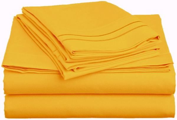 1800 count standard size 2 yellow pillowcases and queen size flat sheet new ebay. Black Bedroom Furniture Sets. Home Design Ideas
