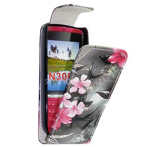Nokia Asha 300 Pink Black Flower Leather Flip Case Cover