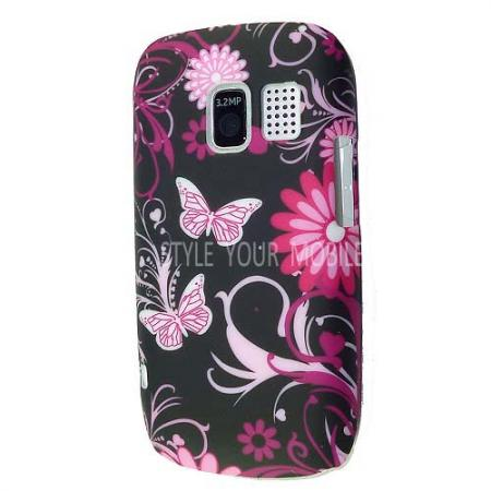 for nokia asha 302 stylish pink butterfly print hard case protection