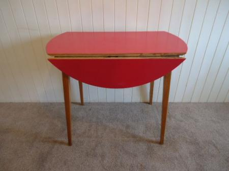 Red vintage retro formica top kitchen dining table drop leaf round ebay - Formica top kitchen table ...