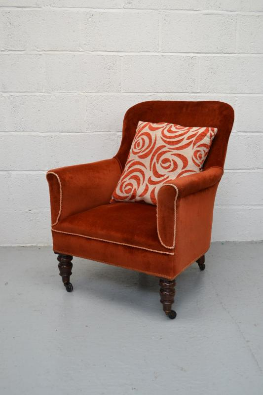 about victorian upholstered small armchair bedroom reading chair