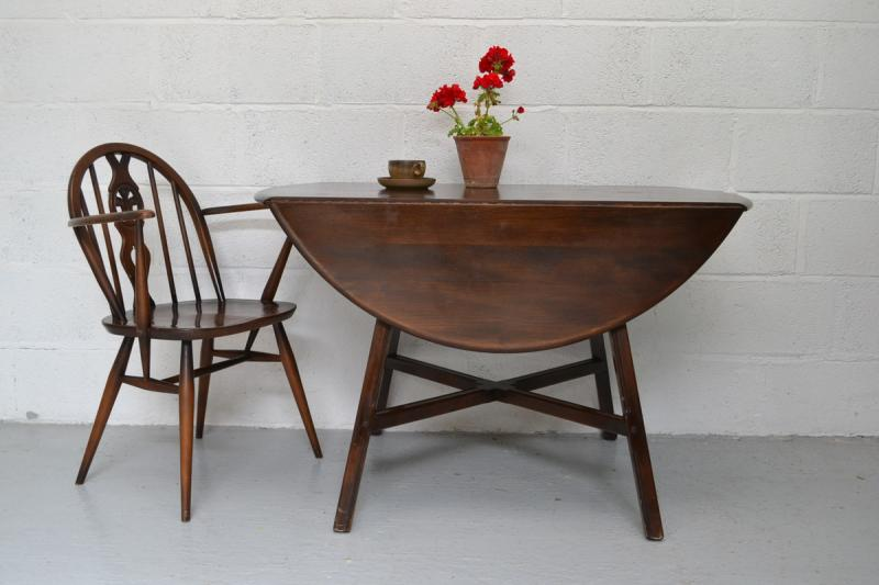 details about ercol drop leaf dark finish round kitchen dining table