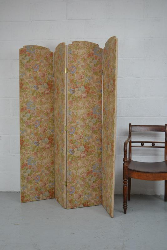 about vintage 4 fold floral room divider privacy dressing screen