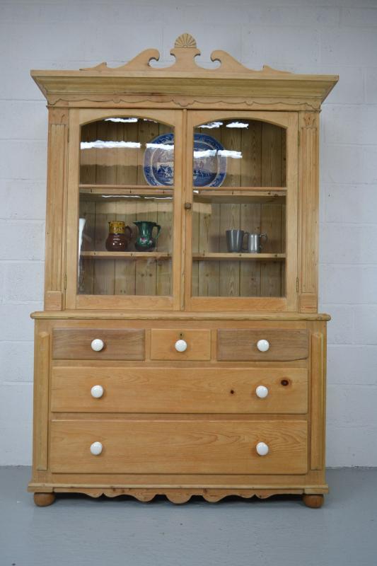 Large antique pine glazed kitchen dresser cabinet cupboard for Antique pine kitchen cabinets