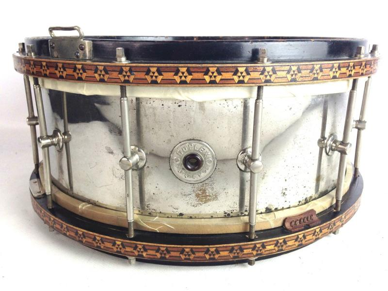 duplex 14x6 5 nob brass snare drum wooden inlayed rims calf heads vintage 1800s. Black Bedroom Furniture Sets. Home Design Ideas