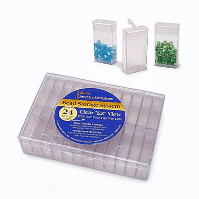 Jewelry Designer Bead Storage Container System 24 Flip Top