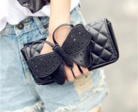 Women Chain Butterfly Stitch Rhombus Clutch Shoulder Bags Purse F2216-01