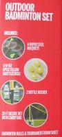 Bag Wilson Outdoor Badminton Set 4 Hypersteel Racquets 4 Shuttlecocks 20ft Net