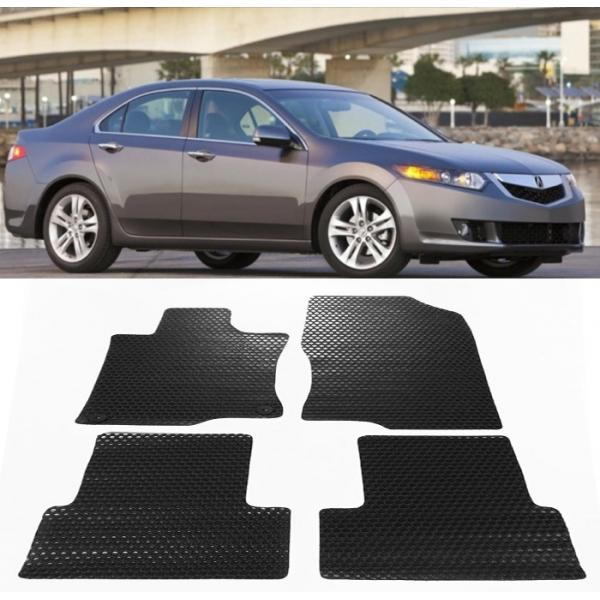 4 Pcs All Weather Black/Beige Rubber Floor Mats Front Rear