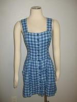 NWOT Co Operative Anthropologie Blue Plaid Box Pleated Fitted Mini