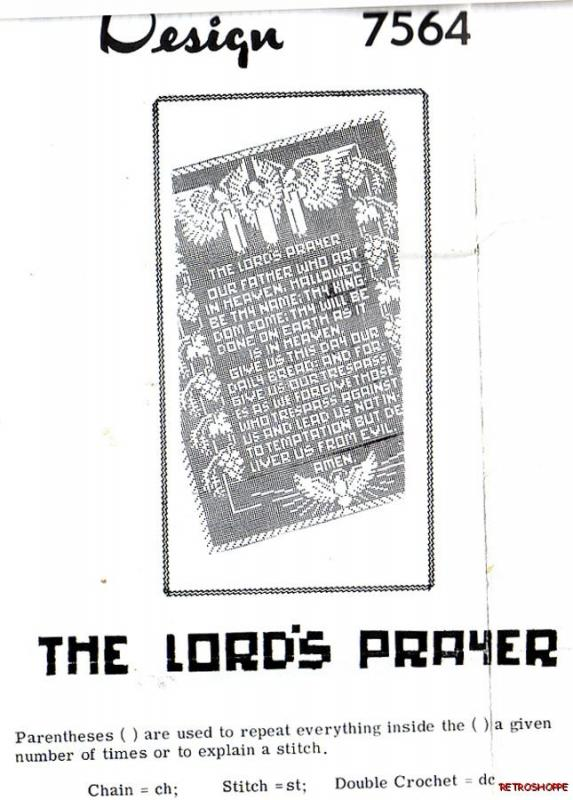 Vintage Original Filet Crochet Pattern The Lords Prayer Panel 7082