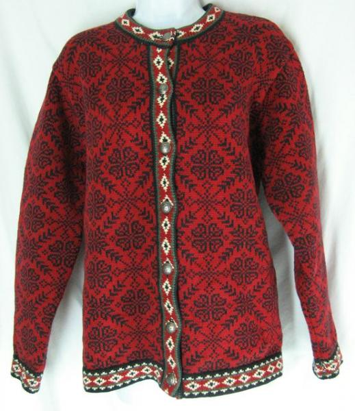 Sz L LL BEAN Sweater Cardigan Nordic Knit Norwegian ...