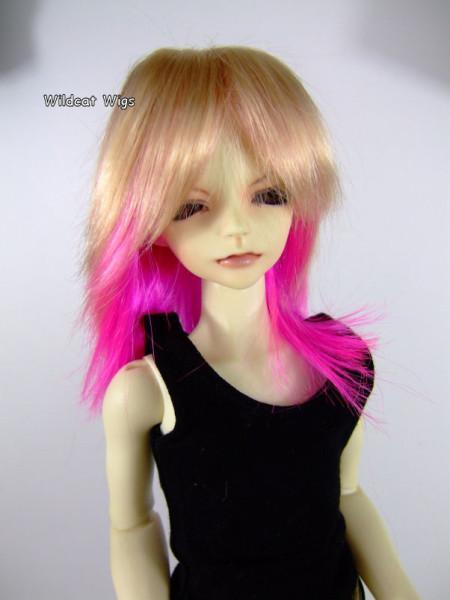 Wig Mini Super Dollfie BJD Hujoo JoJo Blonde Hot Pink