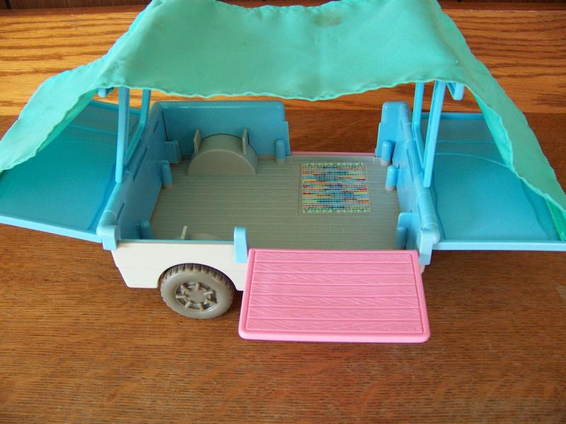 Fisher Price Loving Family Doll Pop Up camper Trailer Car Vintage '93 Mini Van