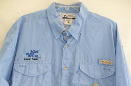 Columbia pfg fishing shirt vented cape w baker hughes for Embroidered columbia fishing shirts