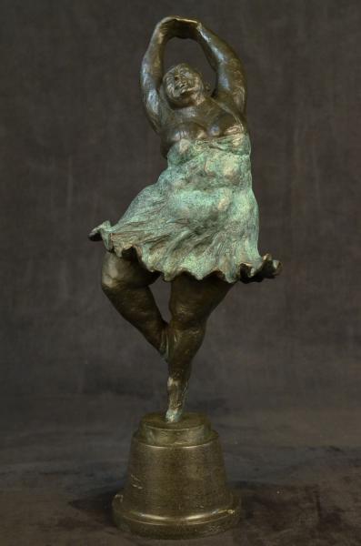Abstract Prima Ballerina after Botero Bronze Marble Sculpture Figurine