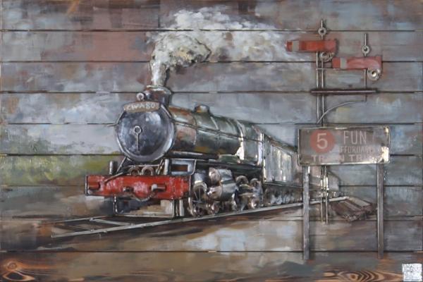 Train 3d wall art decor metal rustic modern metal car wall
