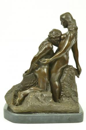 13x9.5 Rodin Eternal Idol Bronze Nude Couple Sculpture