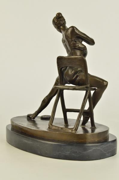 Hot Sexy Girl Posing On A Chair Bronze Sculpture Marble