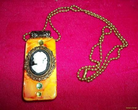 altered art domino embelished pendantcameo ebay