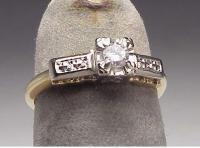 Vintage 14K Two Tone Gold Diamond Engagement Ring