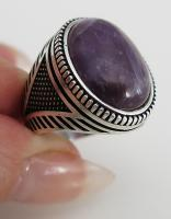 Handmade Authentic Natural Big Amethyst Stone 925 Sterling Silver Men/'s Ring Q4