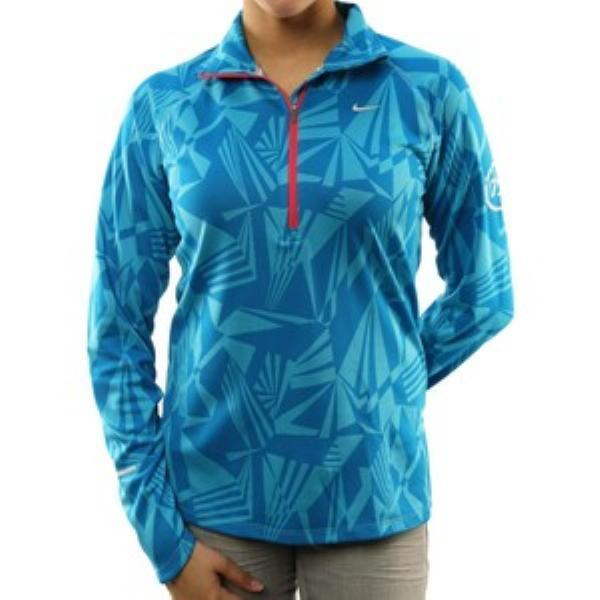 009dacdd87cc Nike Women s Dri-Fit Half Zip Jacquard Aqua Blue Running Training ...
