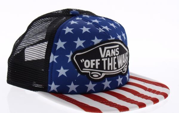 Vans Women s Snapback Trucker USA American Flag 4th of July Hat VN0A2RPOY7T 7da7b23bb36