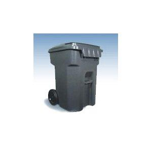 95 GALLON ROLL OUT CONTAINER OUTDOOR DARK GREY GARBAGE TRASH CAN W ATTACHED
