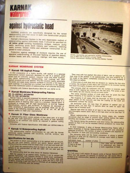 Details about KARNAK Asphalt Products Catalog ASBESTOS Roofing Floor Mastic  Waterproofing 1976
