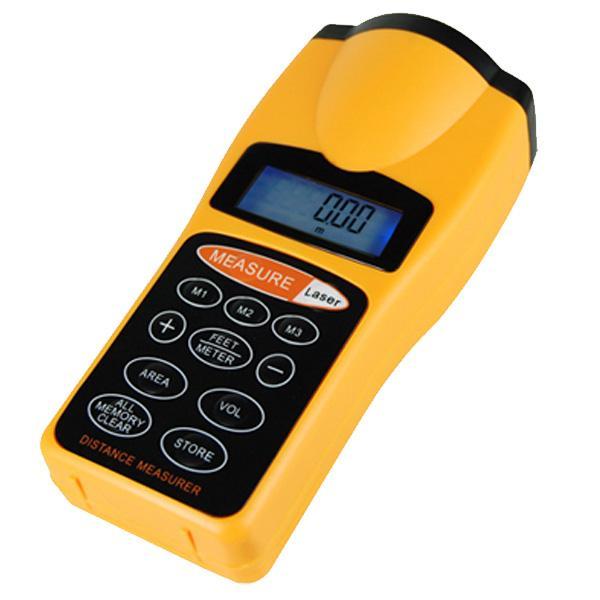 Digital lcd ultrasonic sonic distance measuring tape measure meter laser pointer ebay - Laser mesure distance ...