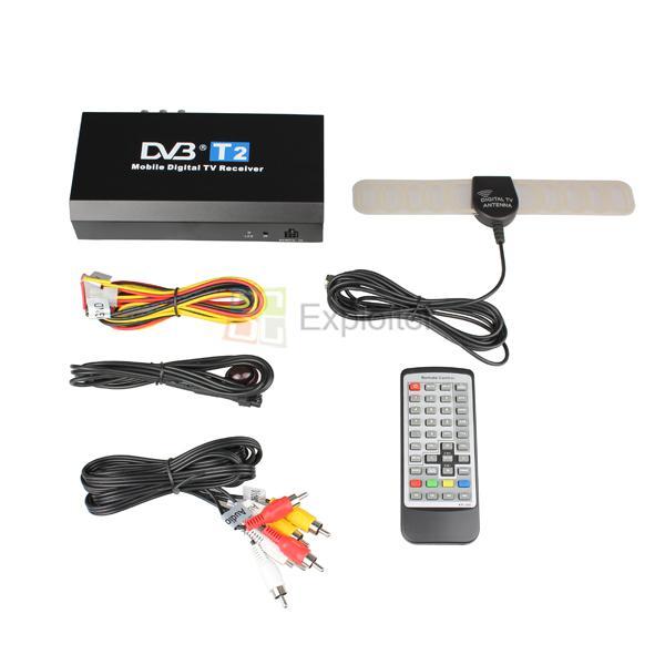 HD TV Tuner DVB T2 MPEG 4 Car Mobile Digital TV Receiver Antennas Remote