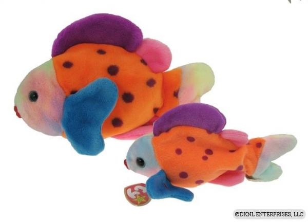 Ty beanie buddy lips 1999 multicolor fish beanie set ebay for Fish beanie baby