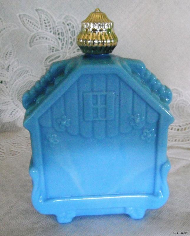 Vintage Avon Decanter Bottle   Blue Glass Bird House |