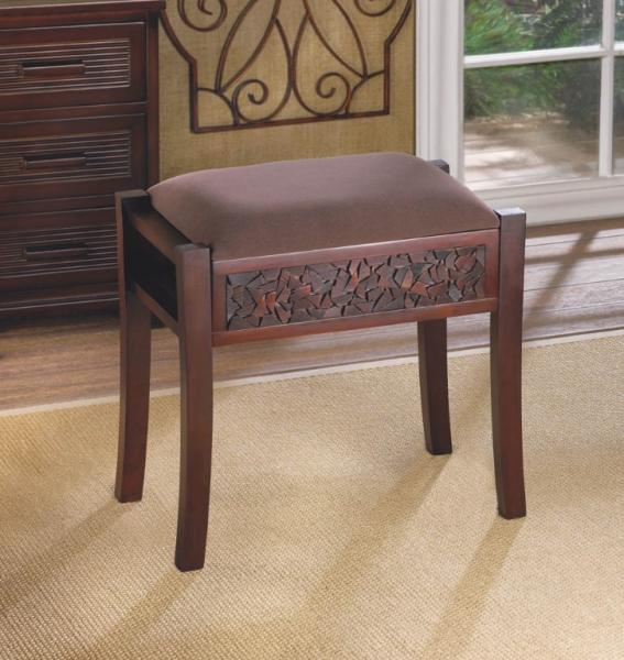 Miraculous Details About Rectangular Alma Vanity Stool Intricate Carved Design At Base Faux Suede Seat Machost Co Dining Chair Design Ideas Machostcouk