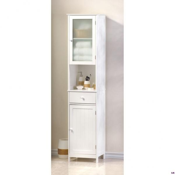 Lakeside tall white bathroom kitchen hallway storage cabinet w drawer shelf ebay - Tall kitchen storage cabinet ...