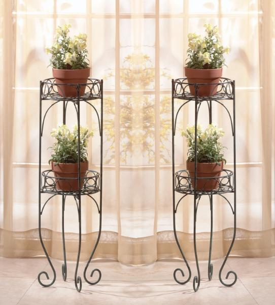 Set Of 2 Tiered Lacy Scroll Indoor Or Outdoor Plant Stands