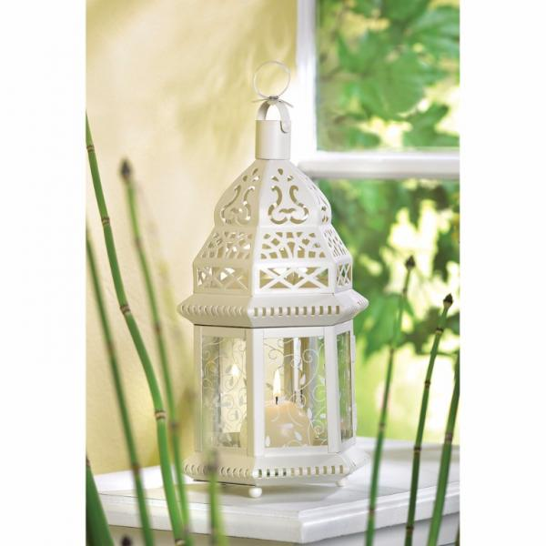 6 Lacy Scrollwork Ivory Moroccan Lanterns Wedding Table Centerpieces