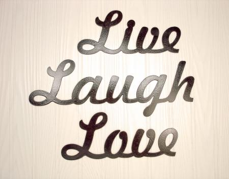 Metal Wall Art Home Decor Live Laugh Love Word Art | eBay