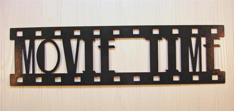 Movie Time New Metal Wall Art Home Theater Decor Contemporary Movie Sign Ebay