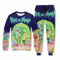 Unisex Rick and Morty Sweater+Pants Set Parent-child Christmas Costume Cosplay