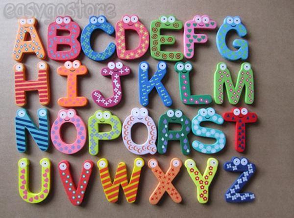 Wooden Fridge Magnet 26 Letter Alphabet Number Educational Toy Baby Kid 3 Style